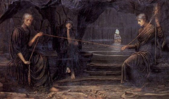 _ the fates or the moerae were invoked at birth to decide a mans destiny often depicted as spinners clotho at the right with a spindle spins out